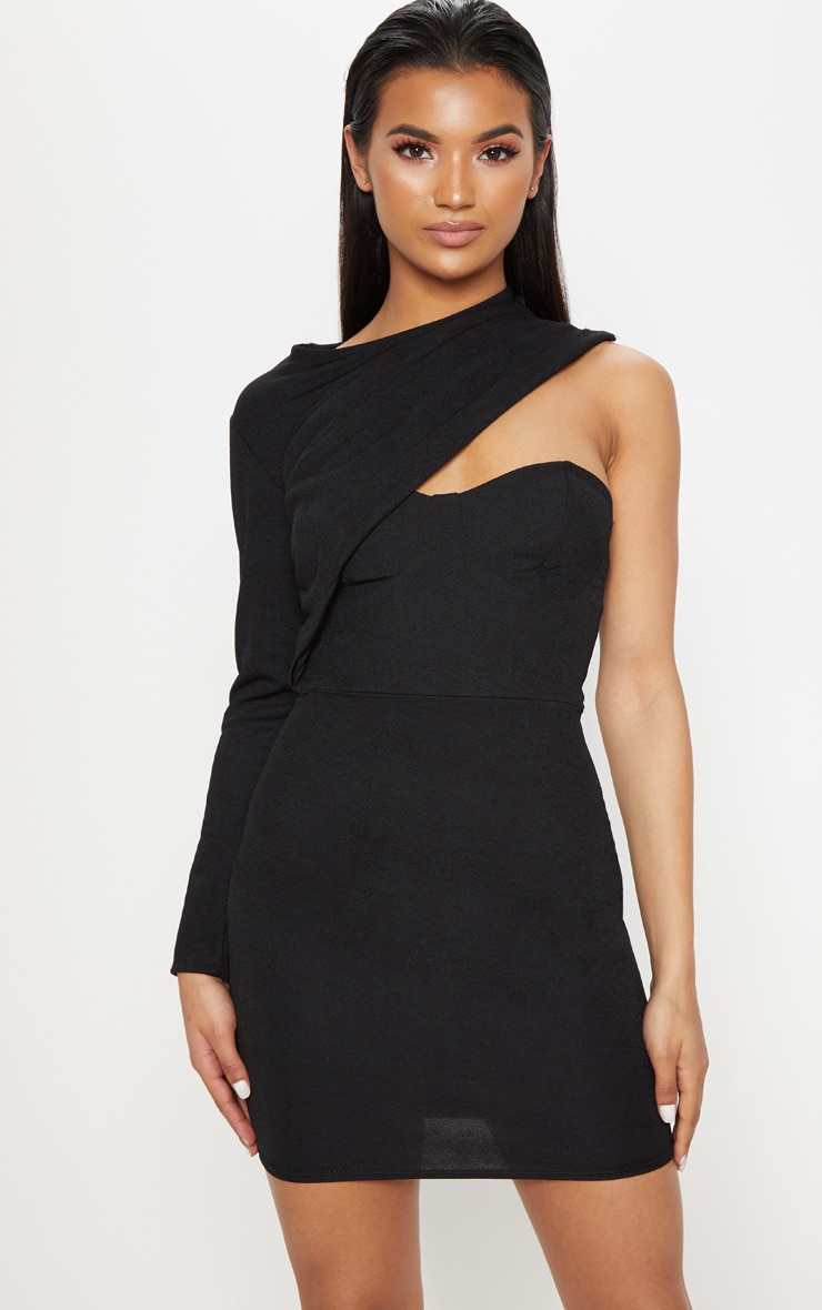Black One Shoulder Detail Bodycon Dress 1