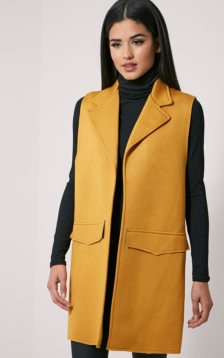 Floria Mustard Sleeveless Structured Blazer 4