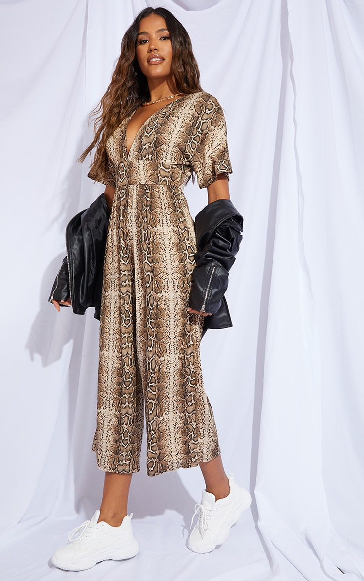 Stone Snake Print Plunge Culotte Jumpsuit 3