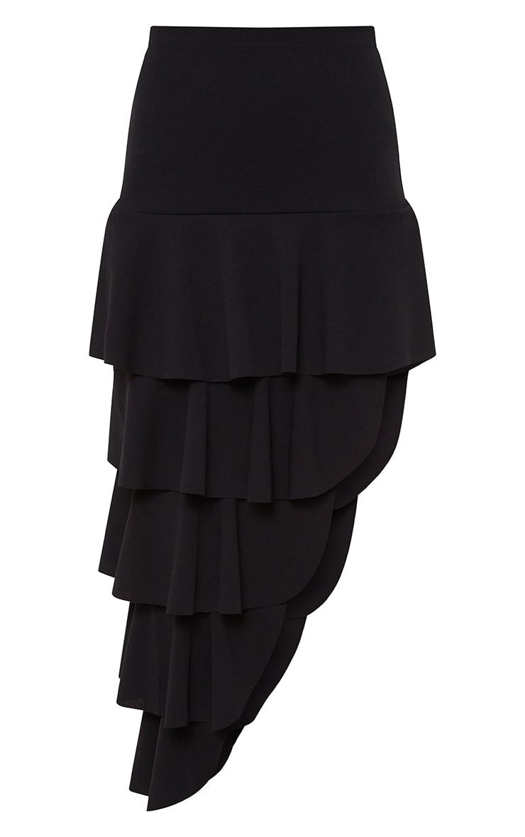 Black Tiered Split Midi Skirt 3