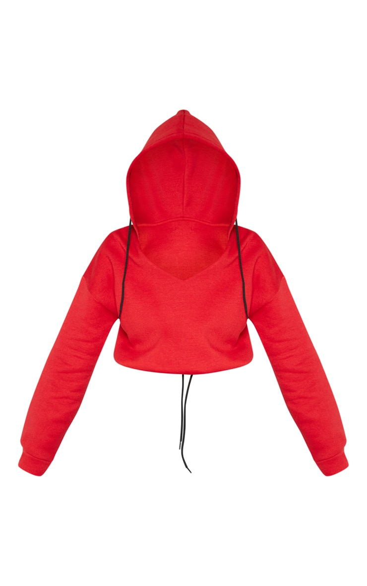 Hoodie court rouge à col en V 3