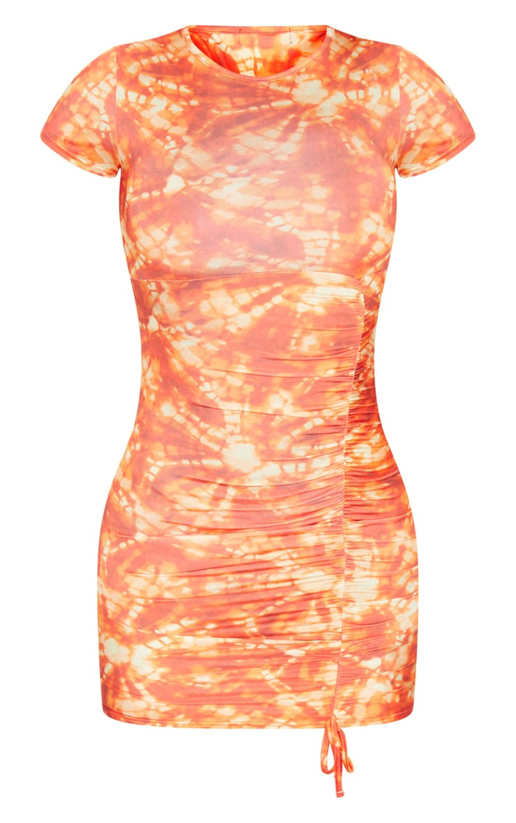 Multi Tie Dye Short Sleeve Ruched Bodycon Dress 5