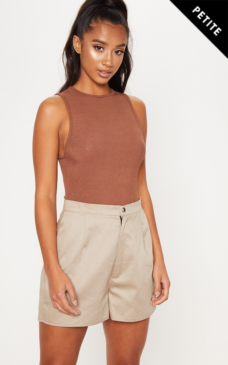 Petite Chocolate Brown Ribbed High Neck Bodysuit