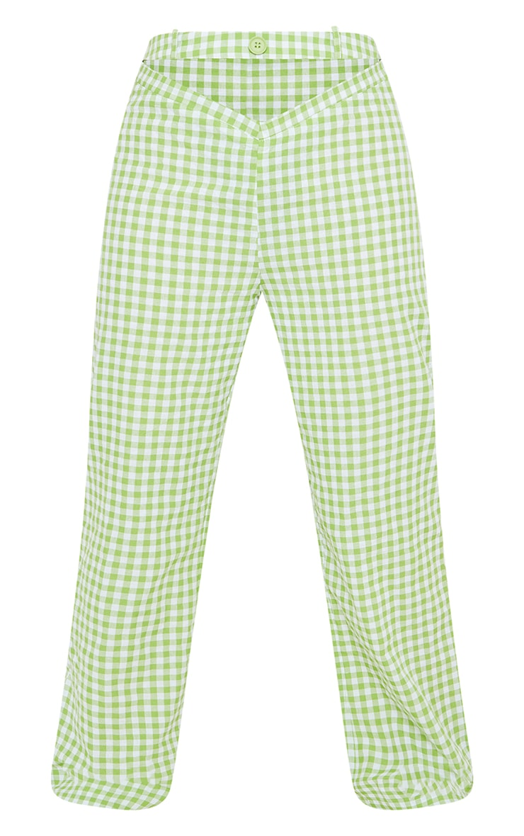 Petite Green Gingham  Cut Out Waist Band Detail Trousers 5
