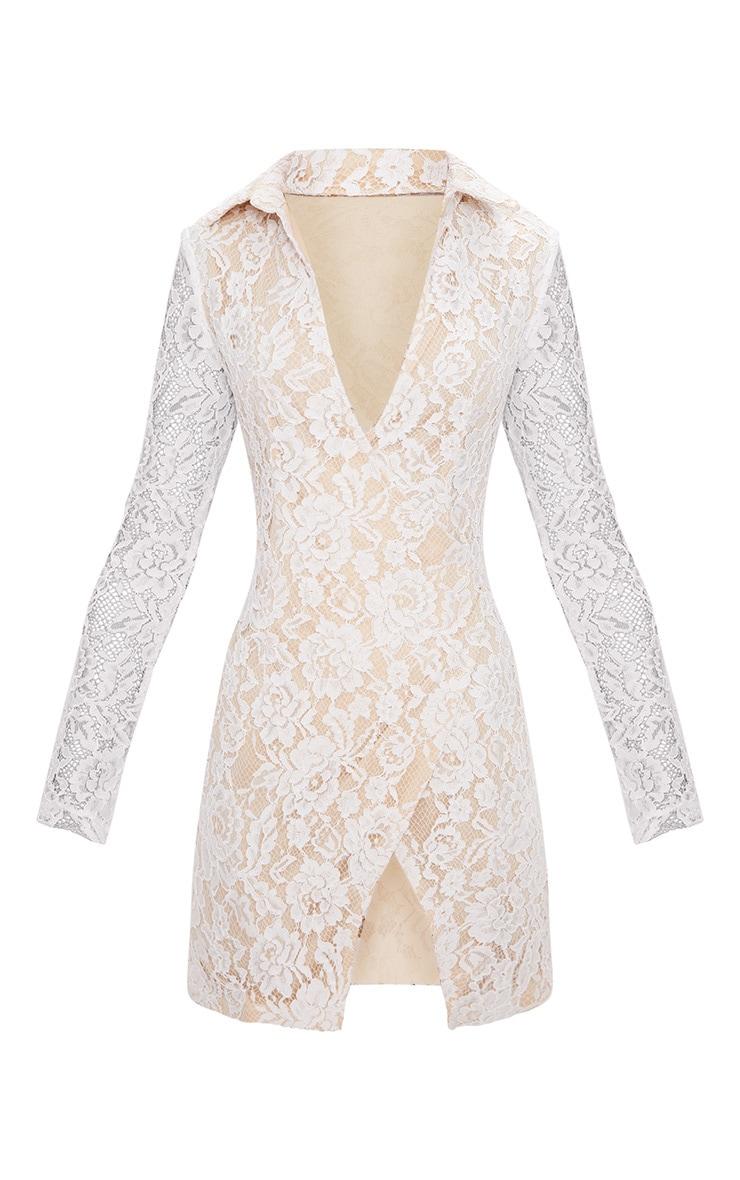 White Lace Blazer Dress 3