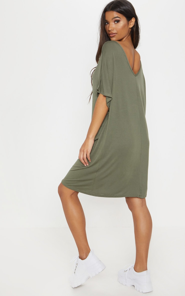 Basic robe t-shirt col en V kaki 1