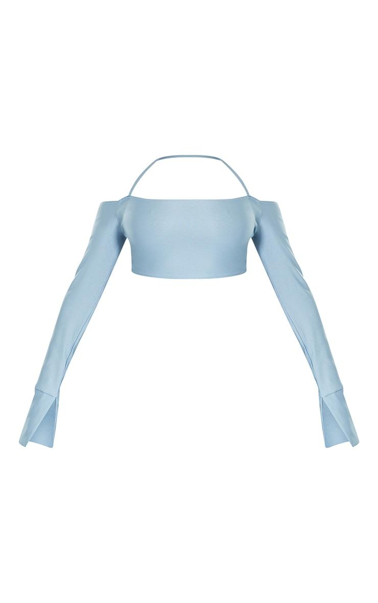 Light Blue Stretch Woven Halterneck Bardot Crop Top 5