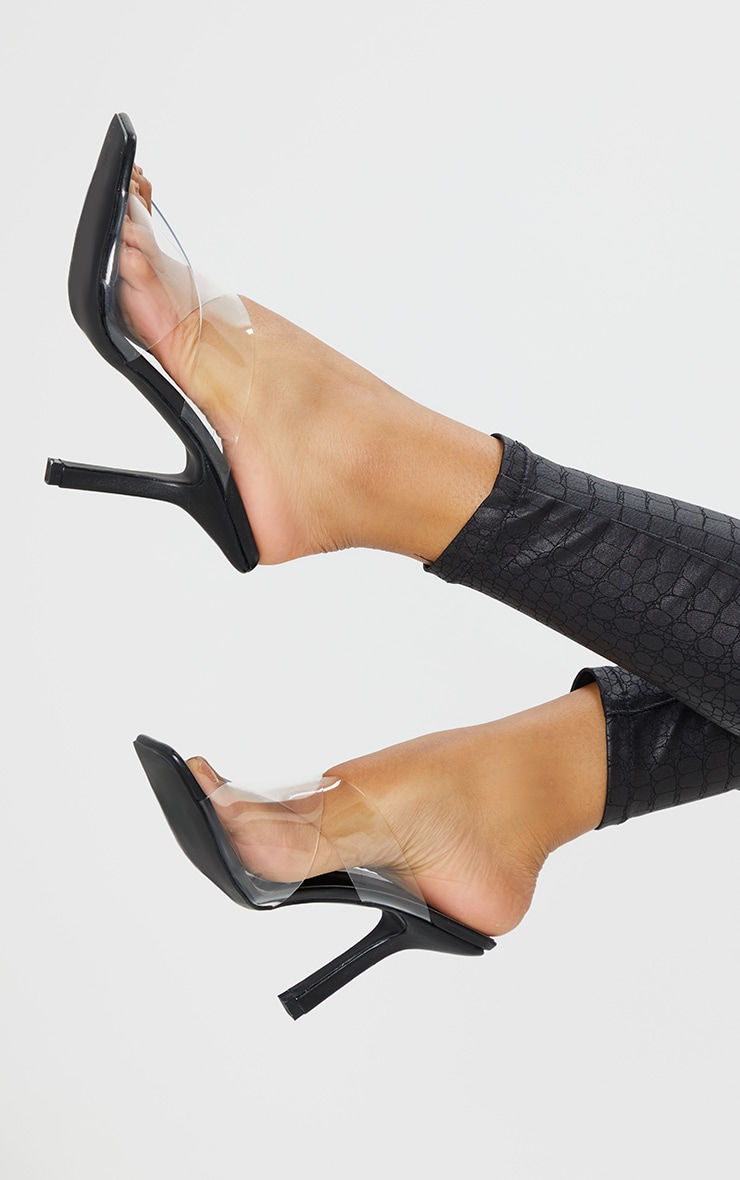 Black Clear Cross Over Twin Strap Square Toe Mule Heels 2