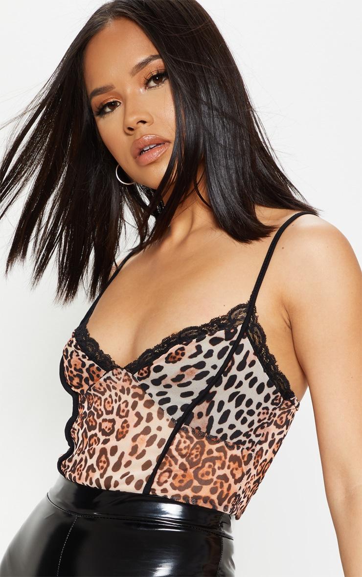 Black Leopard Print Mesh Lace Trim Bodysuit 6