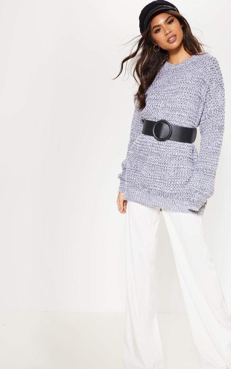Grey Mixed Yarn Knitted Jumper  4