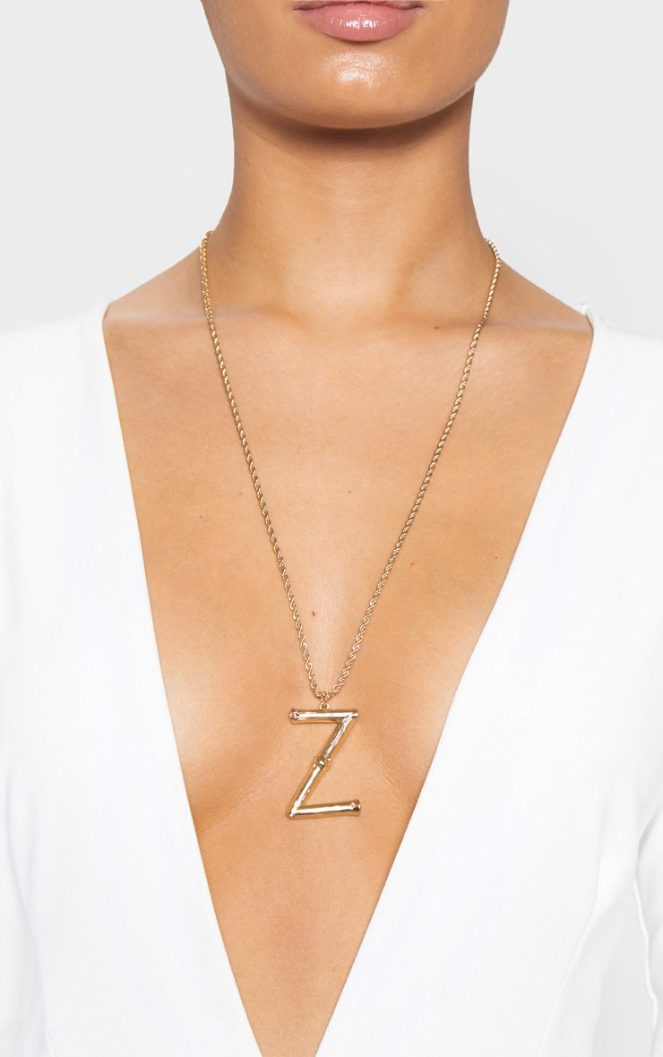 Gold Z Bamboo Letter Necklace 2