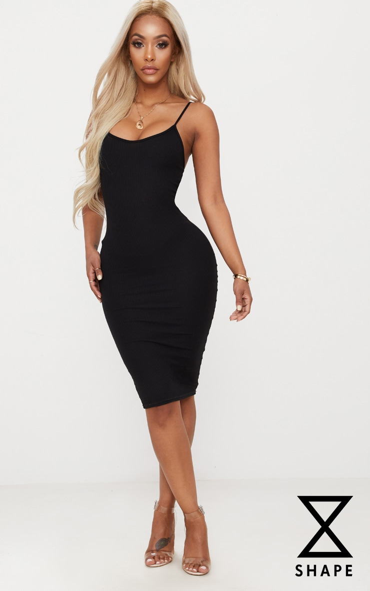 Shape Black Ribbed Strappy Midi Dress