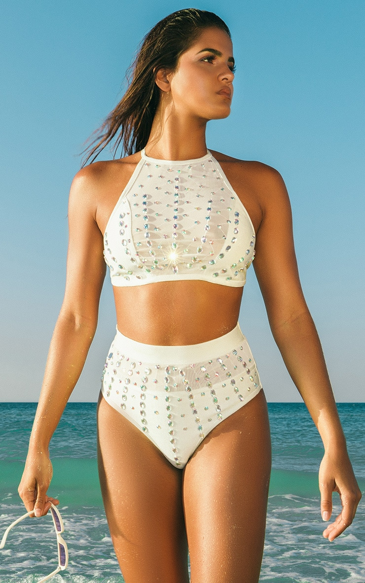 Premium White Iridescent Beaded Bandage Pool Party Bottom