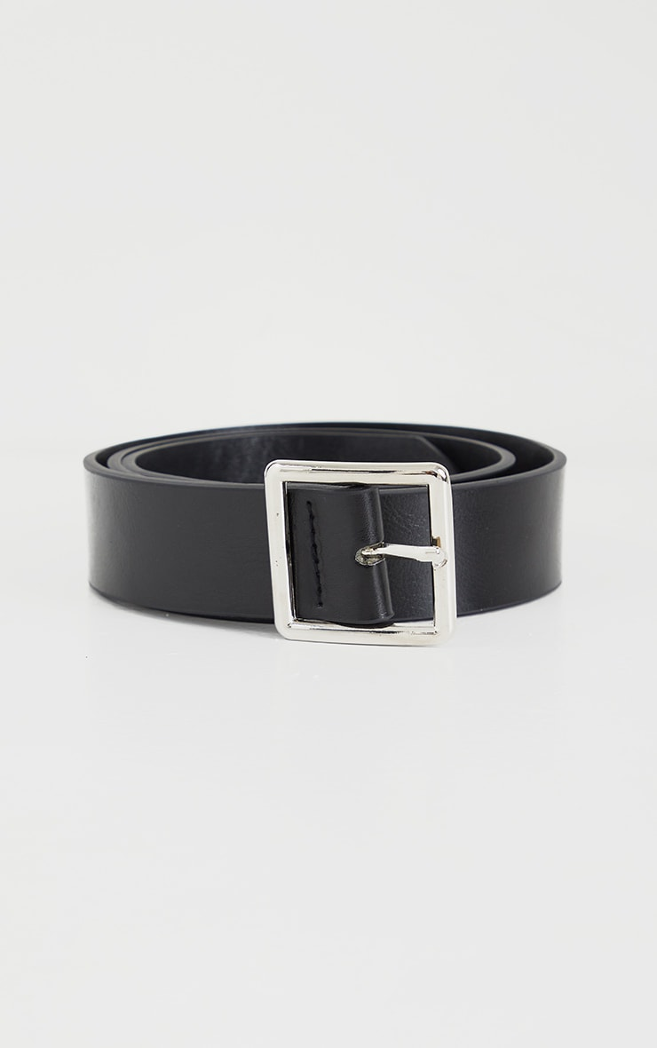 Black Basic Square Buckle Belt 2