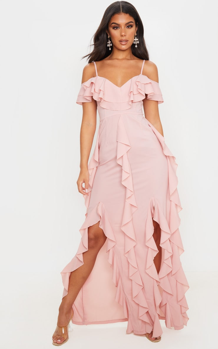 Dusty Pink Cold Shoulder Ruffle Detail Maxi Dress 1