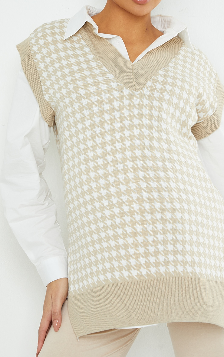 Maternity Stone Dogtooth V Neck Knitted Side Split Vest 4