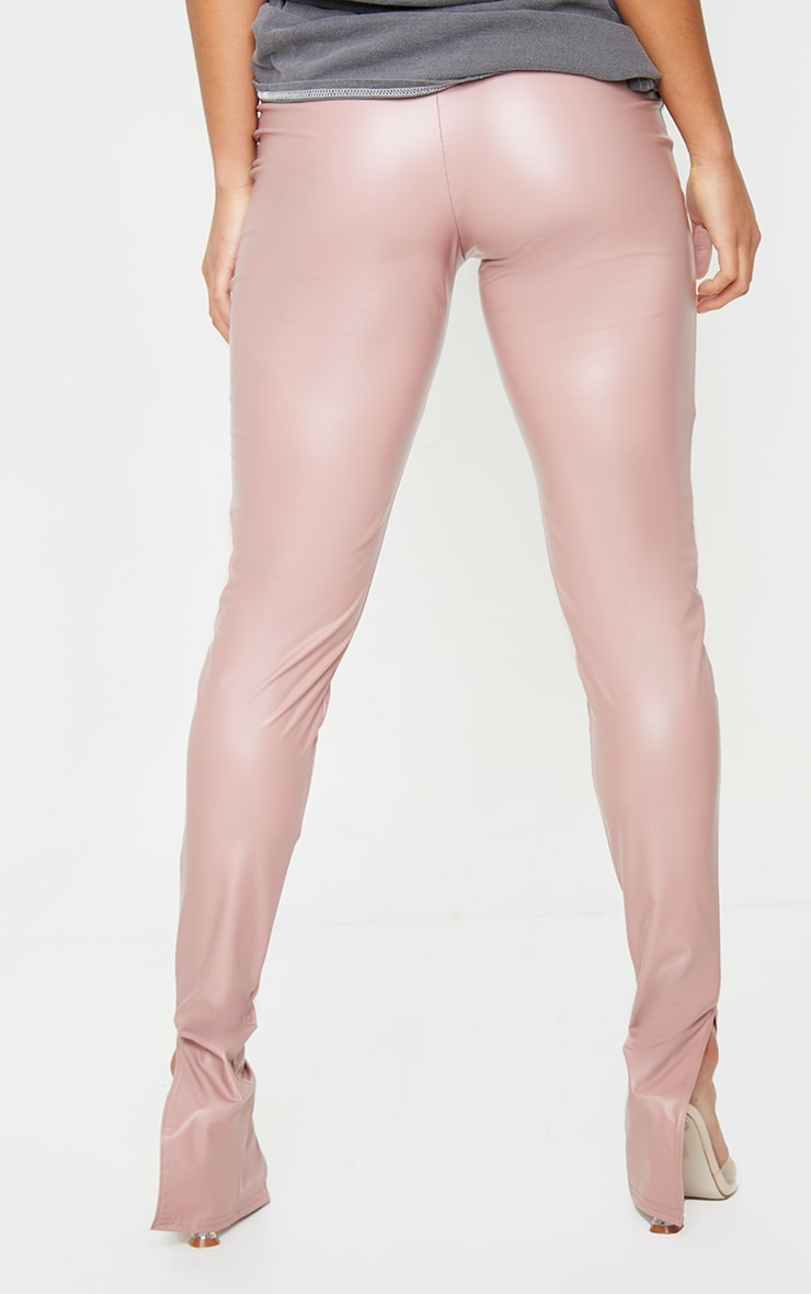 Petite Dusty Pink Split Hem Coated PU Leggings 3