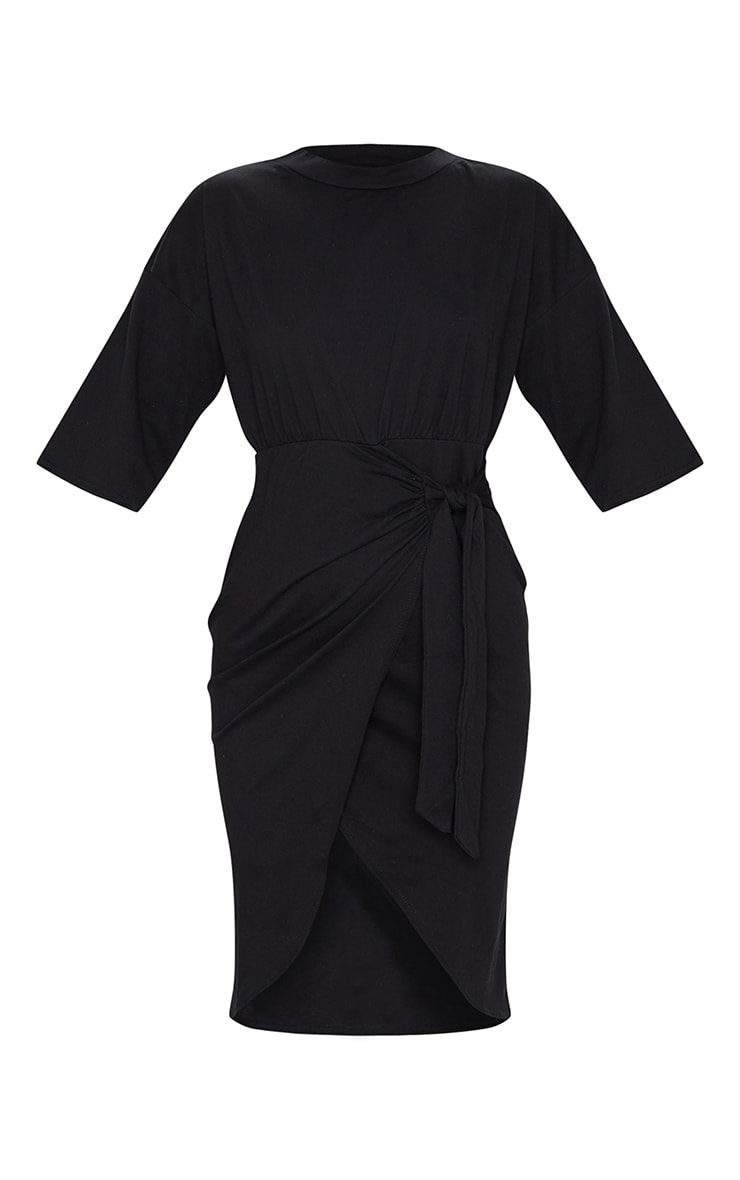 Black Wrap Tie Detail T Shirt Dress 5