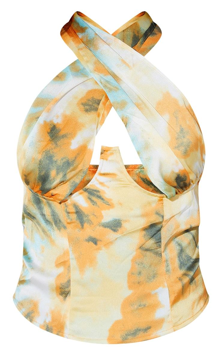 Orange Tie Dye Cross Over Zip Top 5