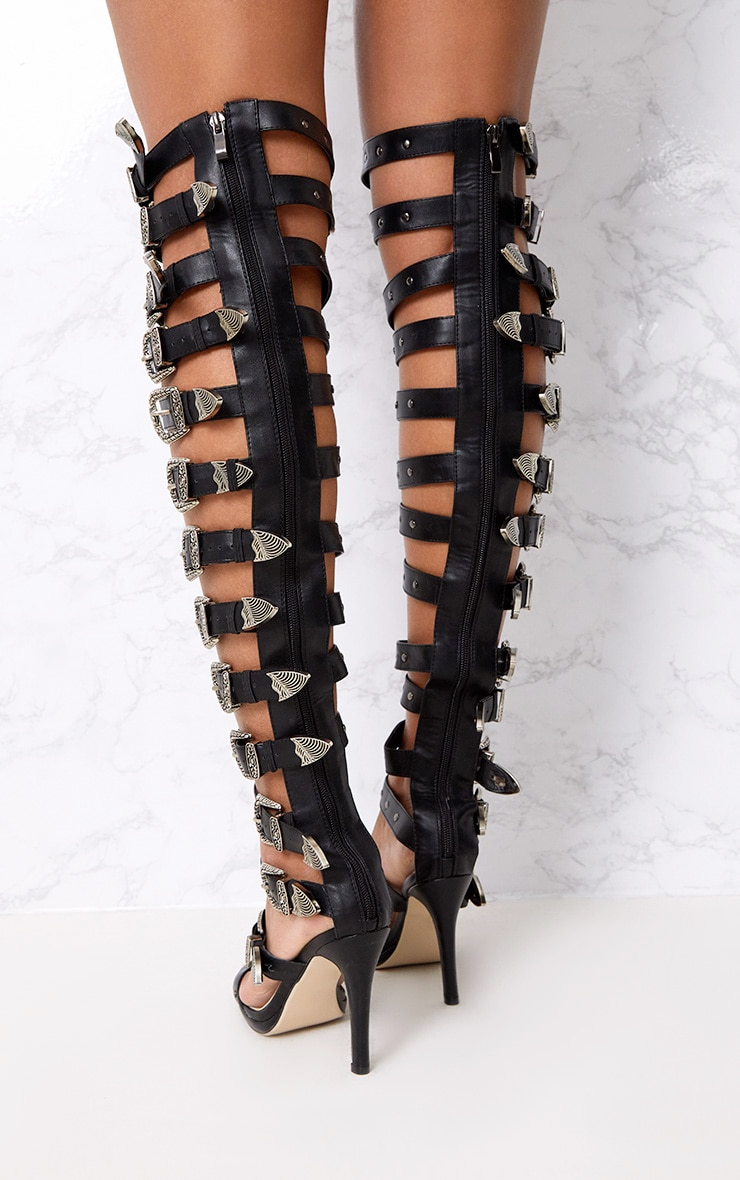 Reese Black PU Buckle Thigh High Heels 4