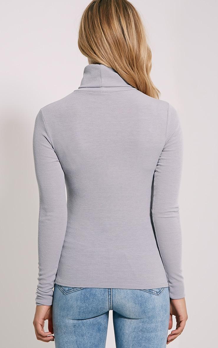 Basic Grey Polo Neck Top 2