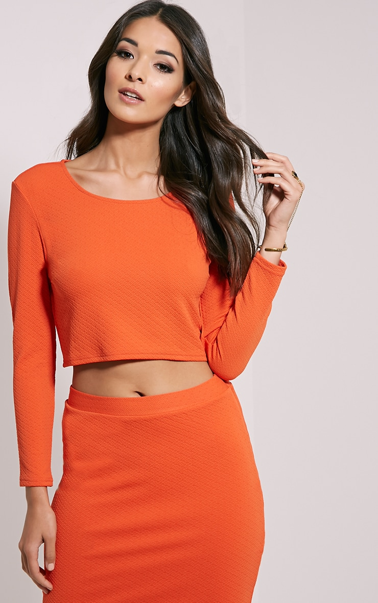Beulah Orange Textured Crop Top 1
