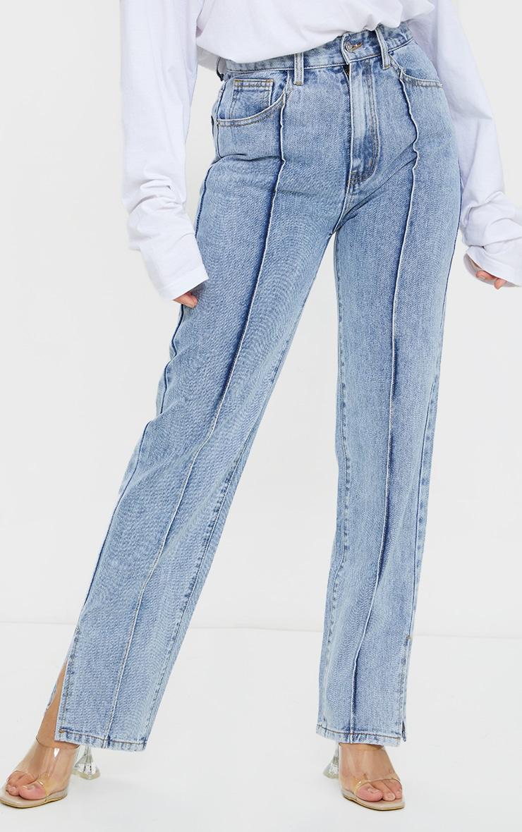 Petite Blue Front Seam Split Hem Denim Jeans 2