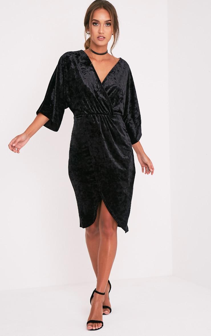 Archer robe midi cape velours noire 4