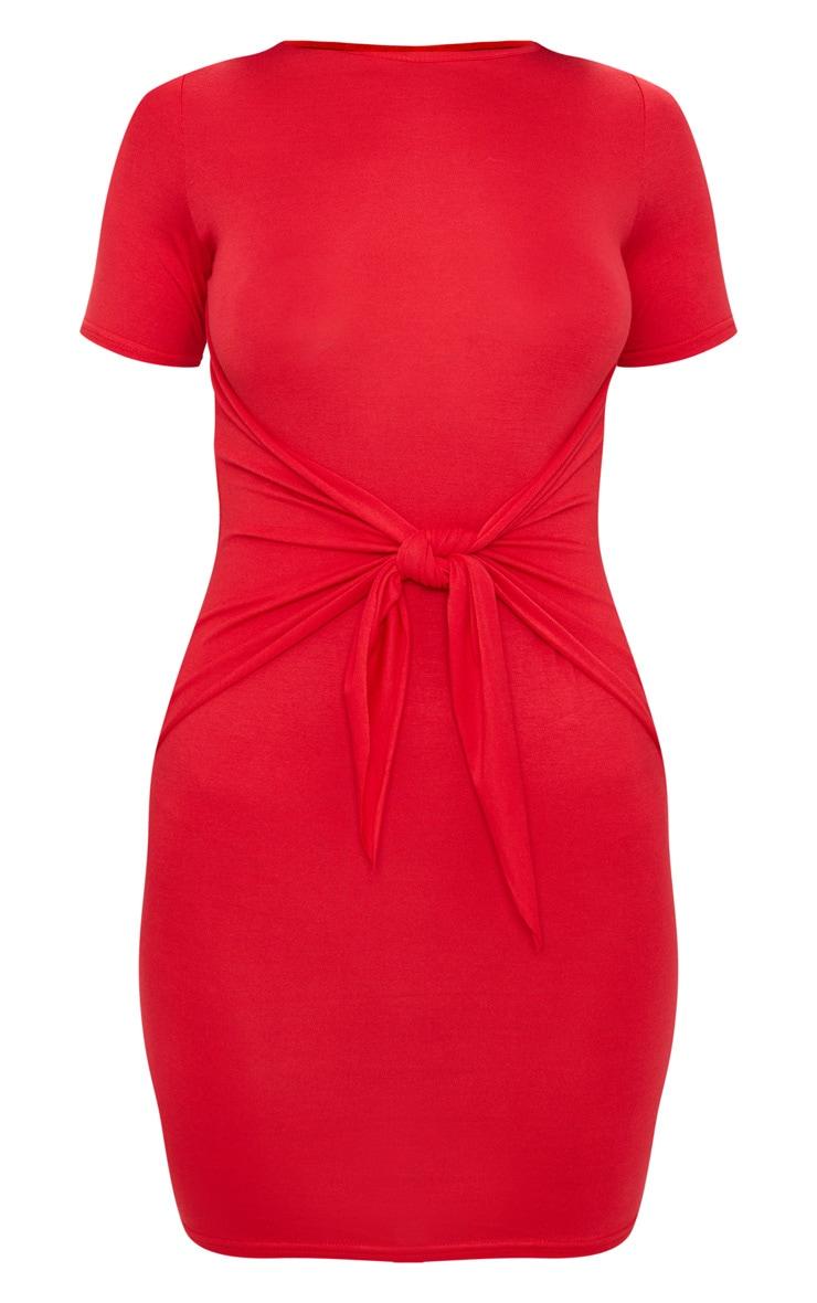 Red Tie Detail Bodycon Dress 3