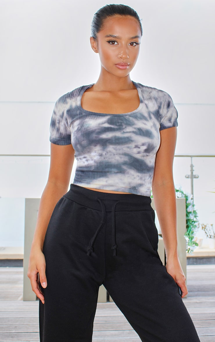 Petite Grey Ribbed Tie Dye Lace Up Back Crop Top 2