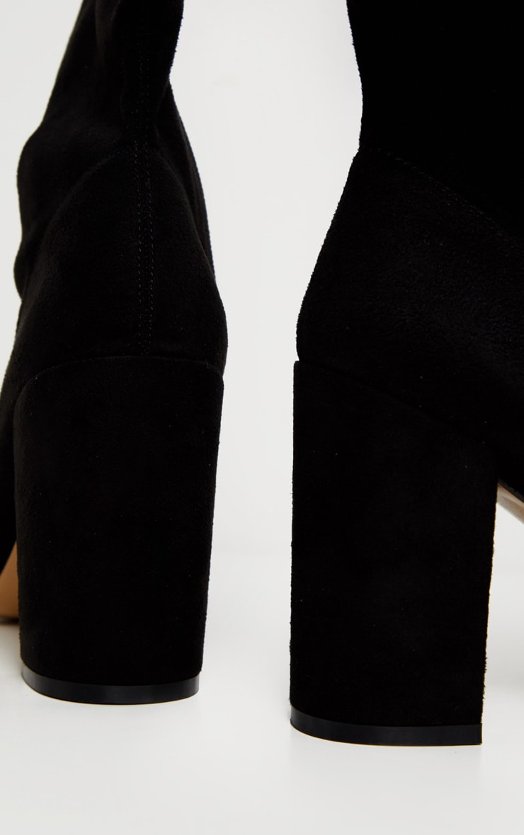 Black Mid Heel Point Ankle Sock Boot 4