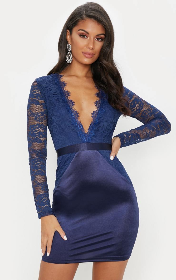 navy lace top satin bodycon dress
