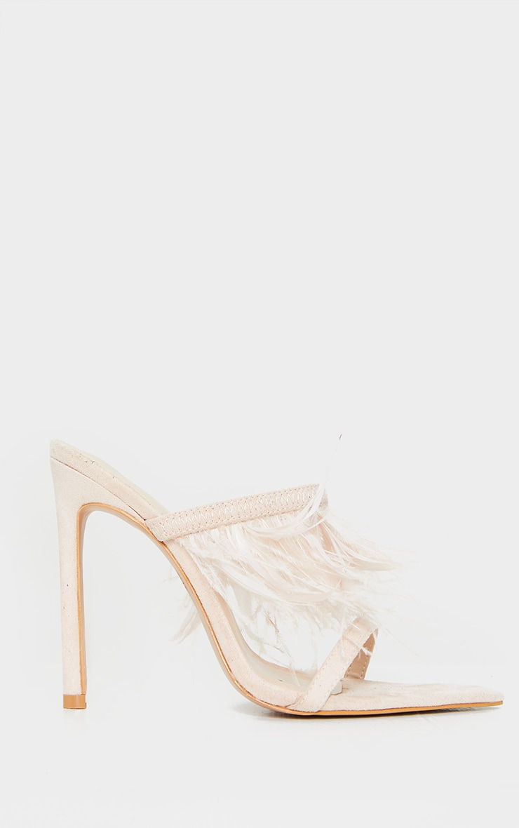 Nude Feather Strap Mule Heels 3