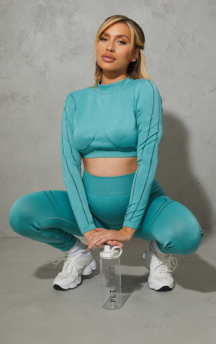 Maternity Sage Green Sport Long Sleeve Seamless top 3