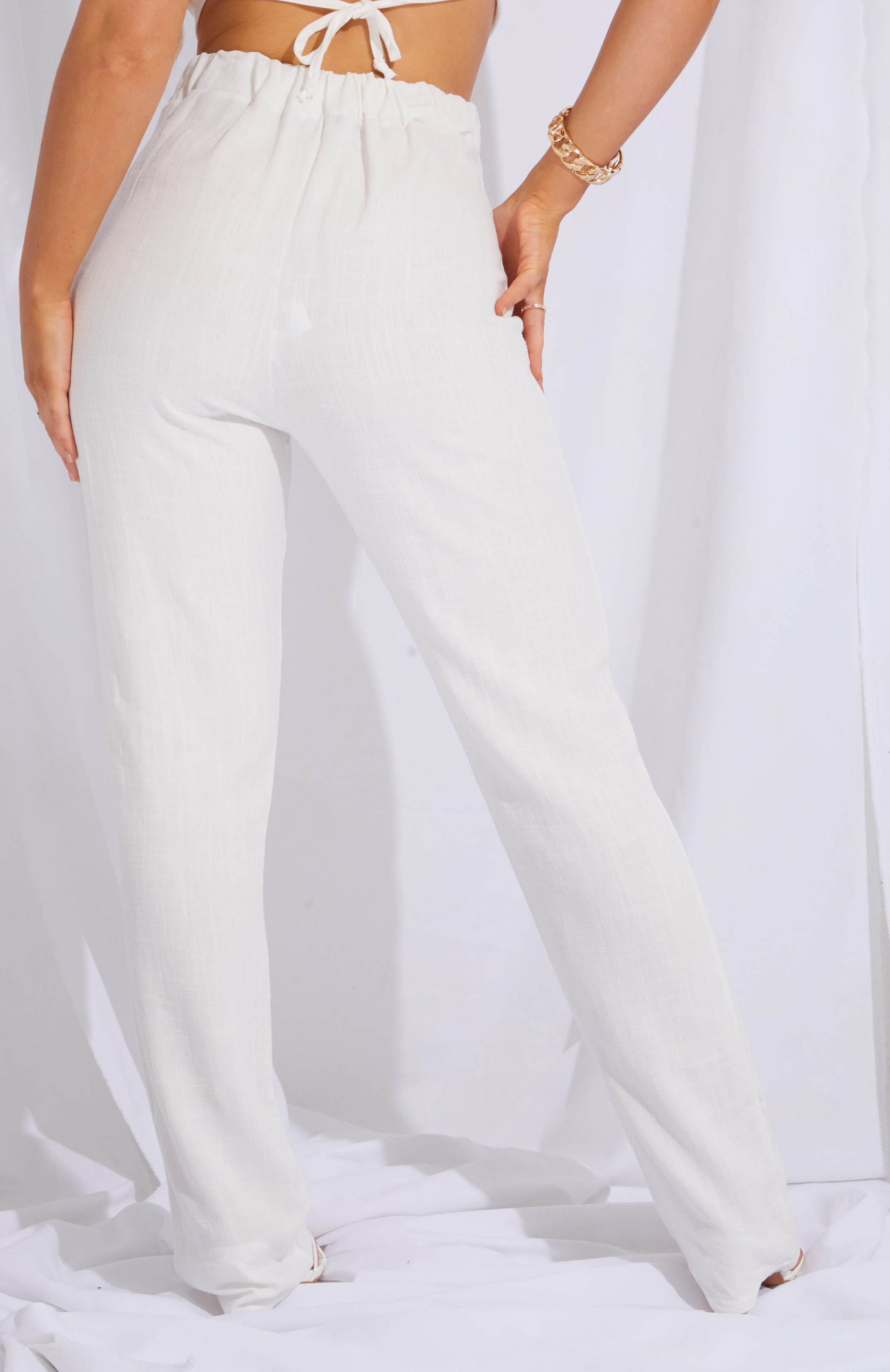 Cream Linen Feel High Waist Wide Leg Pants 3