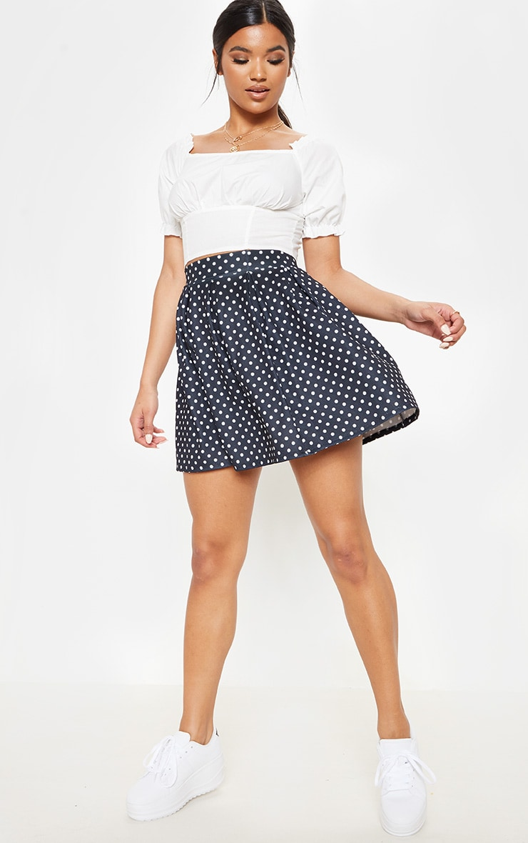 Black Polka Dot Print Pleated Waist Mini Skirt 1