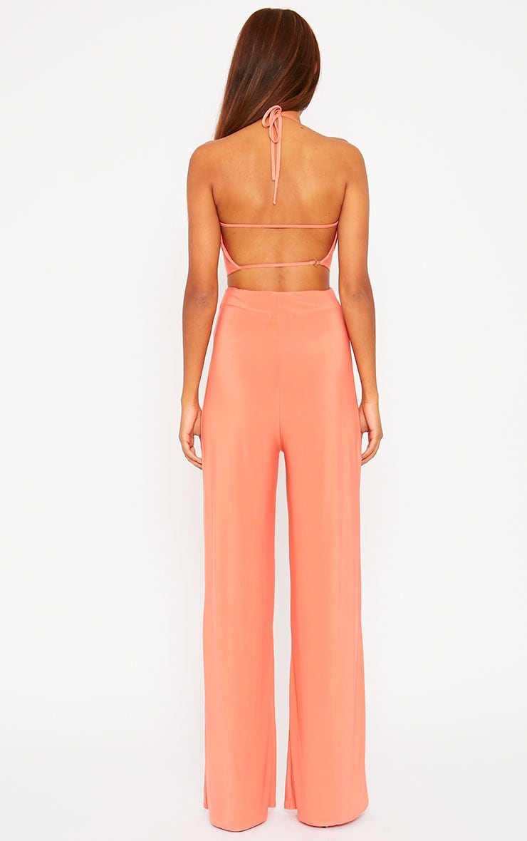 Tullia Orange Slinky Cross Front Wide Leg Jumpsuit 2