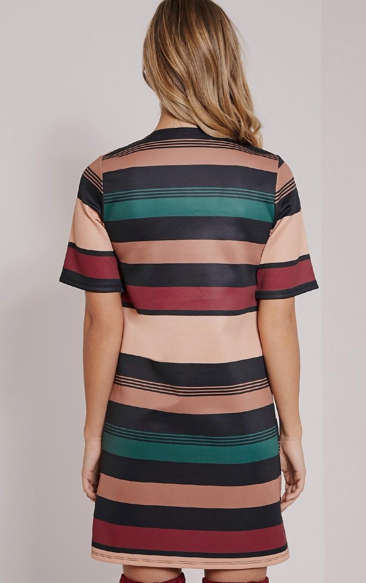 Raean Taupe Stripe Box Sleeve Shift Dress 3