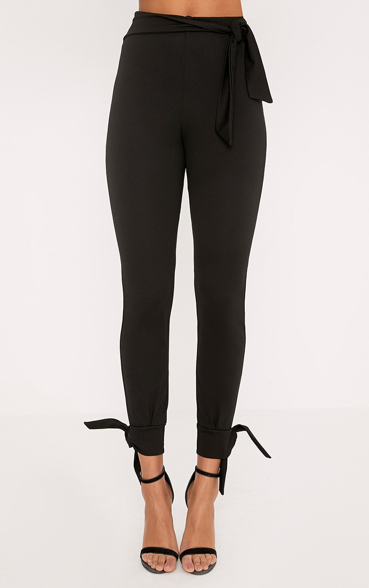 Detta Black Tie Detail Fitted Trousers  2
