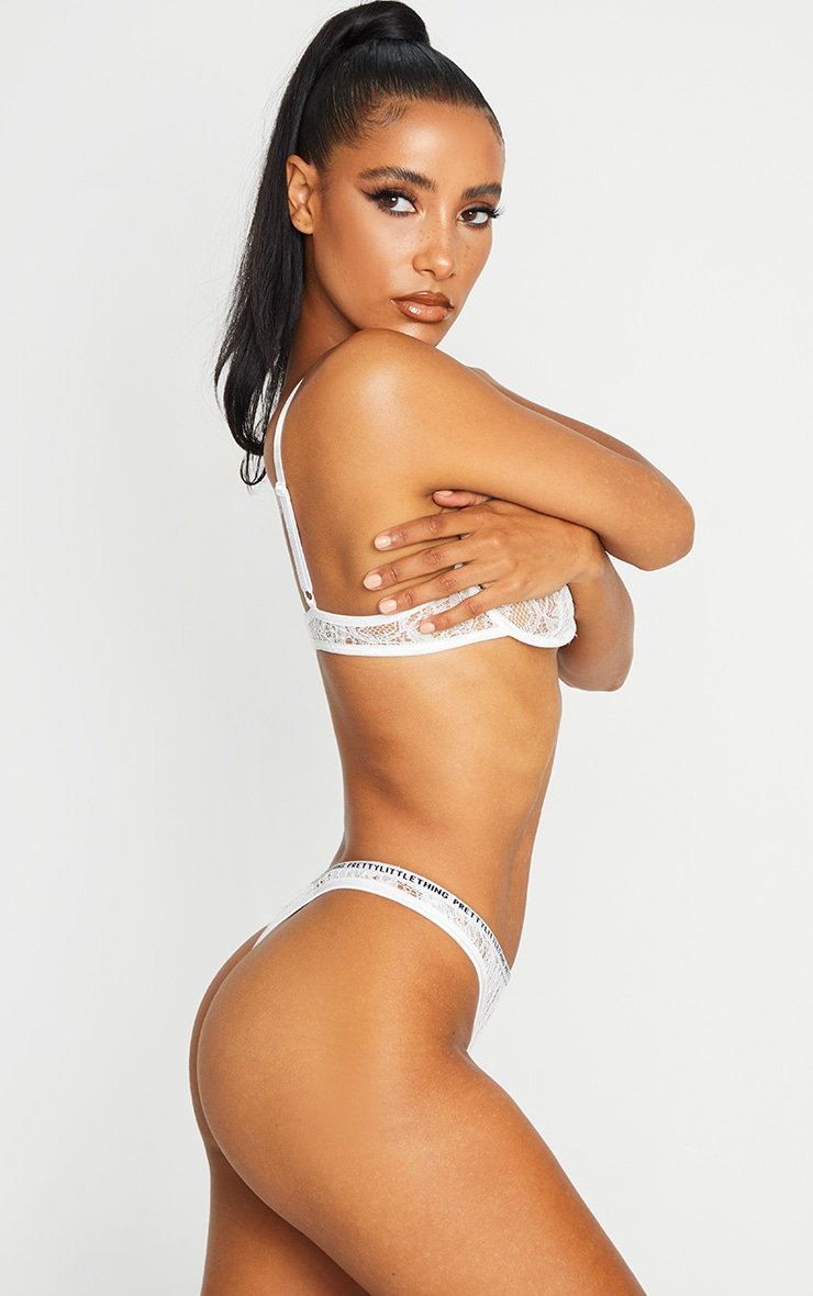 PRETTYLITTLETHING White Floral Lace Thong 3