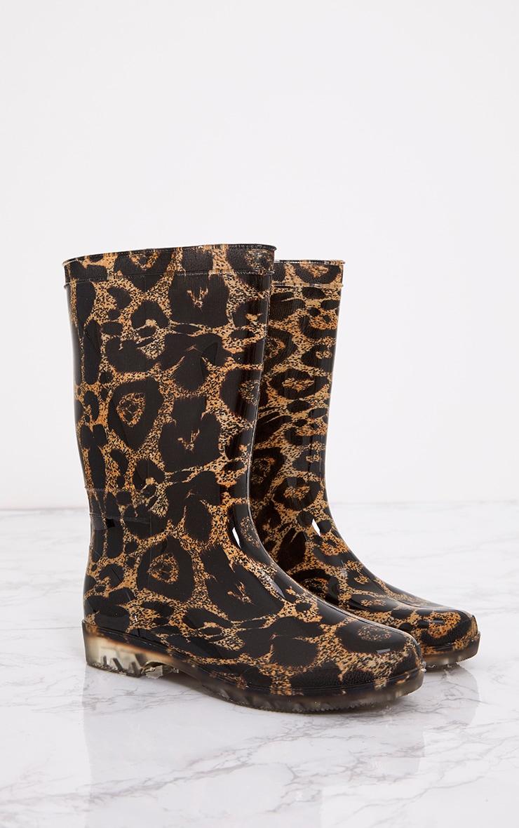 Brown Leopard Print Short Wellies 6