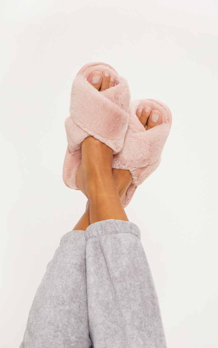 Pink Fluffy Cross Strap Slipper 2