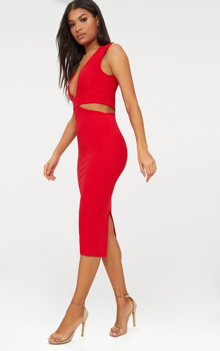 Red Plunge Cut Out Side Midi Dress 4