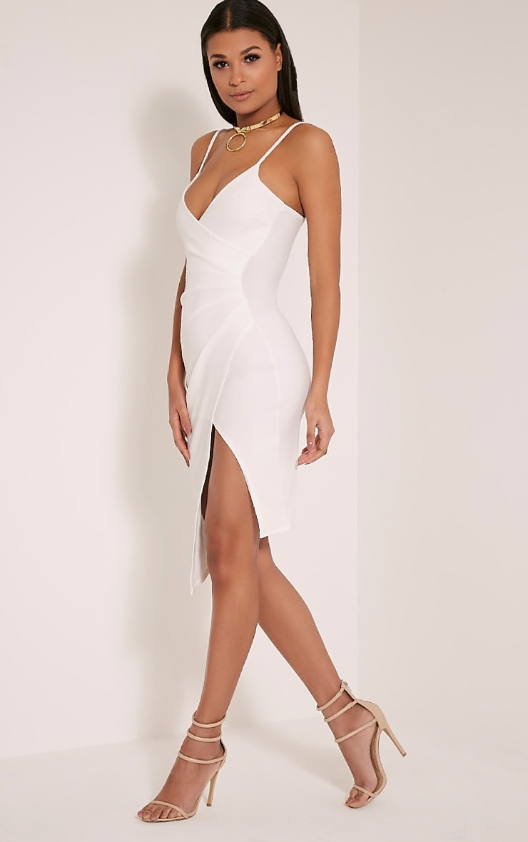 Lauriell White Wrap Front Crepe Midi Dress 4