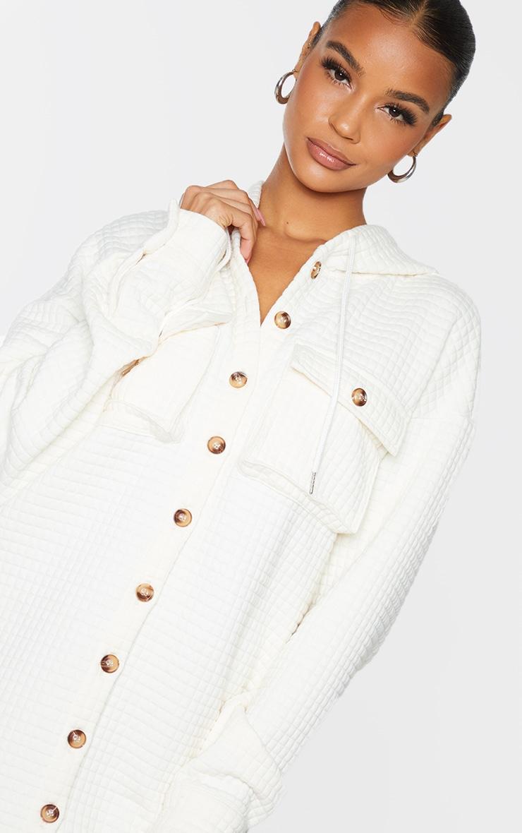 Cream Waffle Button Up Hooded Sweat Dress 4