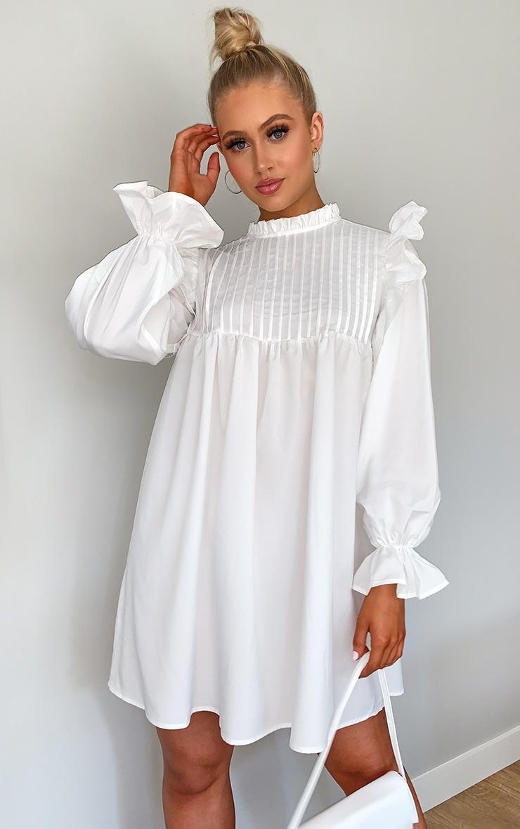 White Ruffle Binding Detail Shirt Dress 1
