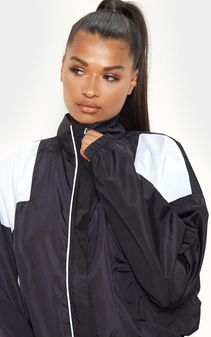 Black Oversized Shell Tracksuit Jacket 5
