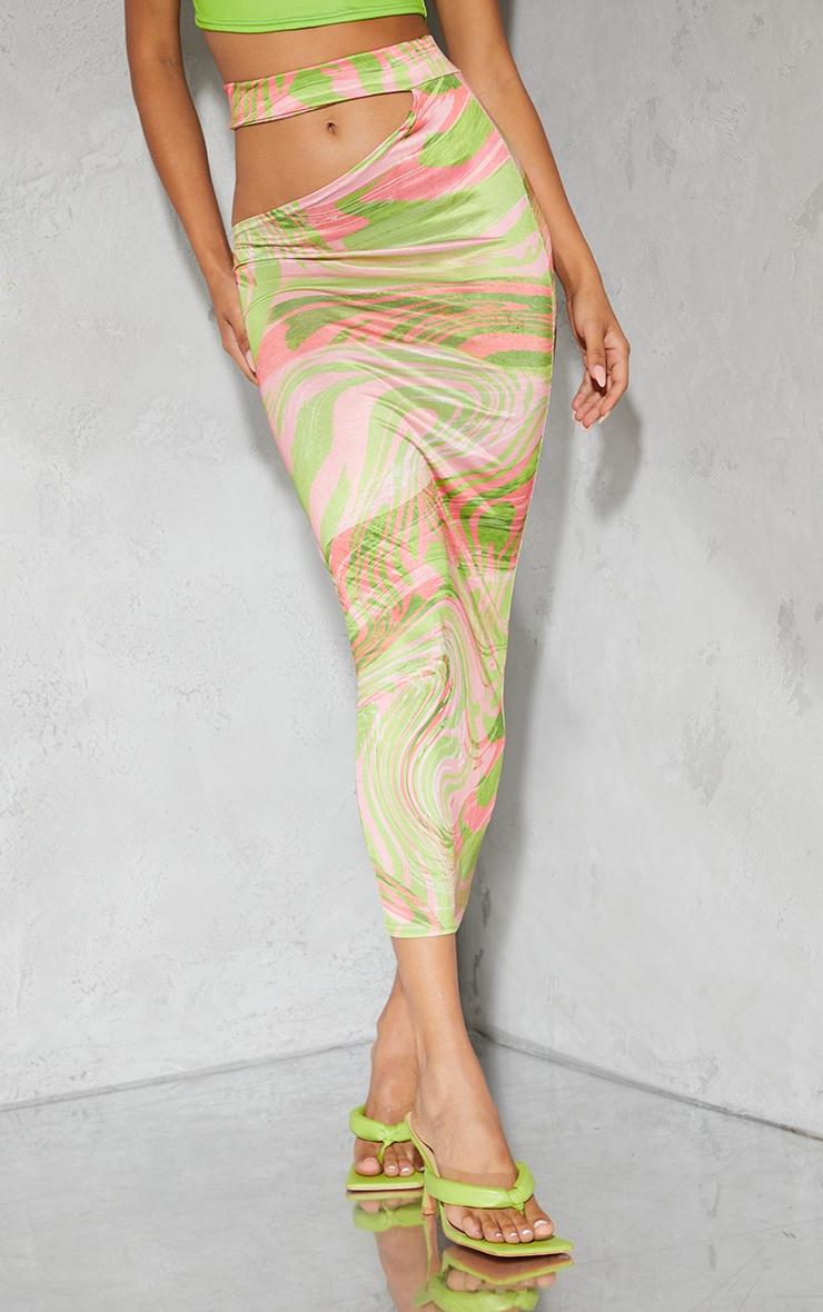 Lime Swirl Print Slinky Cut Out Waist Detail Midi Skirt 2