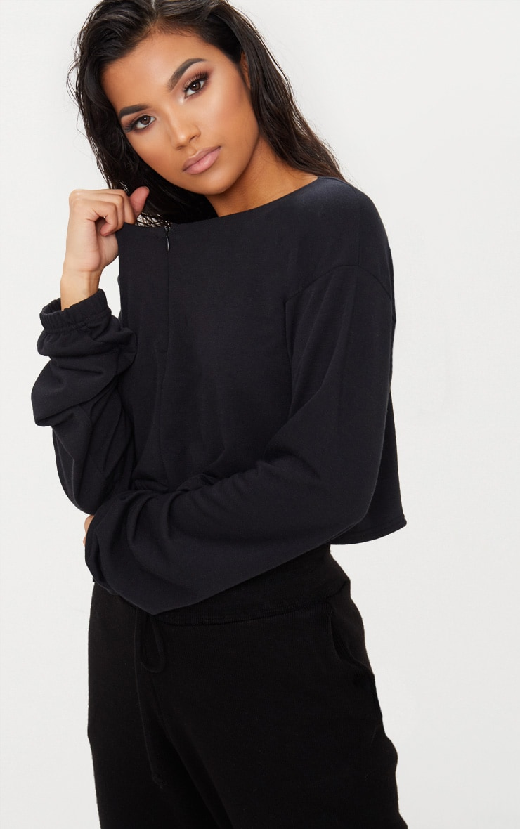 Black Zip Front Sweater  5