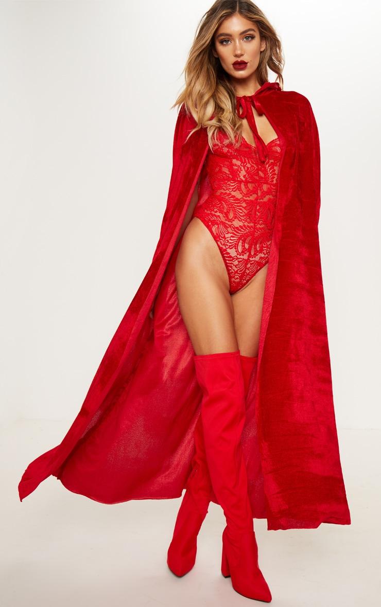 Red Velvet Long Cape by Prettylittlething